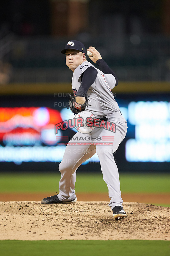 Scranton/Wilkes-Barre RailRiders relief pitcher Kaleb Ort (37) in action against the Charlotte Knights at BB&T BallPark on August 13, 2019 in Charlotte, North Carolina. The Knights defeated the RailRiders 15-1. (Brian Westerholt/Four Seam Images)