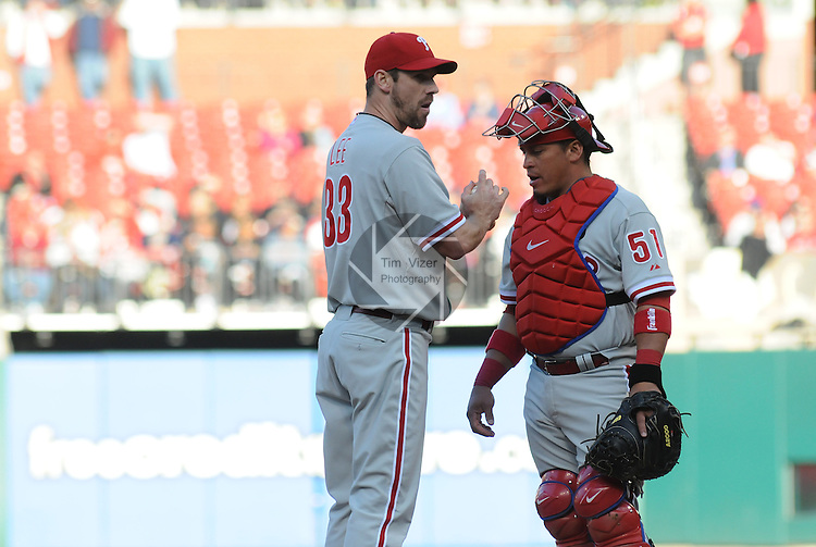 16 May 2011                             Philadelphia Phillies catcher Carlos Ruiz (51) speaks with Philadelphia Phillies starting pitcher Cliff Lee (33) on the mound.  The St. Louis Cardinals defeated the Philadelphia Phillies 3-1 on Monday May 16, 2011 in the first game of a two-game series at Busch Stadium in downtown St. Louis.