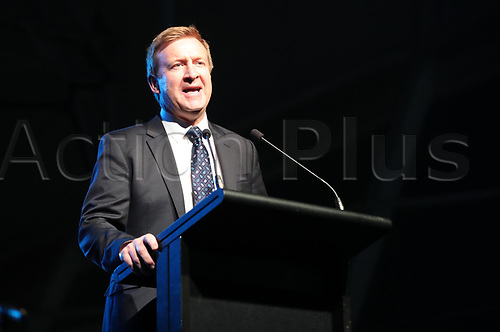 April 30th 2017, Auckland, New Zealand; Closing Ceremony of the World Masters Games; NZ Minister of Sport and Recreation Jonathan Coleman speaks during the closing ceremony of the World Masters Games 2017 held at The Cloud on Auckland's waterfront