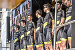 Direct Energie team on stage outside Le Palais des Princes-&Eacute;v&ecirc;ques at the team presentation before the 104th edition of La Doyenne, Liege-Bastogne-Liege 2018, Belgium. 21st April 2018.<br /> Picture: ASO/Karen Edwards | Cyclefile<br /> <br /> <br /> All photos usage must carry mandatory copyright credit (&copy; Cyclefile | ASO/Karen Edwards)