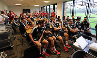 Pictured: Players and members of staff gather for a meeting in the ground's cafeteria Sunday 28 June 2015<br />