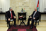 Palestinian Prime minister, Rami Hamdallah, meets with a representative of Bulgaria to Palestine Sfilin Boganov, in the West Bank city of Ramallah, on July 24, 2017. Photo by Prime Minister Office