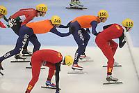 "SHORT TRACK: MOSCOW: Speed Skating Centre ""Krylatskoe"", 15-03-2015, ISU World Short Track Speed Skating Championships 2015, Relay Men, Daan BREEUWSMA (#146 | NED), Freek VAN DER WART (#150 | NED), ©photo Martin de Jong"