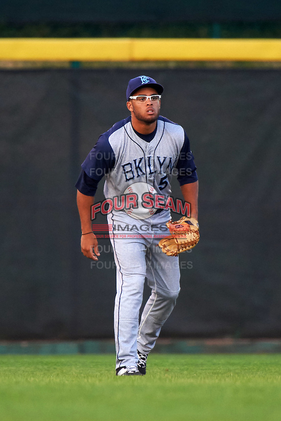 Brooklyn Cyclones outfielder Desmond Lindsay (5) during a game against the Tri-City ValleyCats on September 1, 2015 at Joseph L. Bruno Stadium in Troy, New York.  Tri-City defeated Brooklyn 5-4.  (Mike Janes/Four Seam Images)
