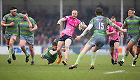Exeter Cheifs' James Short is tackled by Newcastle Falcons' Toby Flood<br /> <br /> Photographer Bob Bradford/CameraSport<br /> <br /> Anglo Welsh Cup Semi Final - Exeter Chiefs v Newcastle Falcons - Sunday 11th March 2018 - Sandy Park - Exeter<br /> <br /> World Copyright &copy; 2018 CameraSport. All rights reserved. 43 Linden Ave. Countesthorpe. Leicester. England. LE8 5PG - Tel: +44 (0) 116 277 4147 - admin@camerasport.com - www.camerasport.com