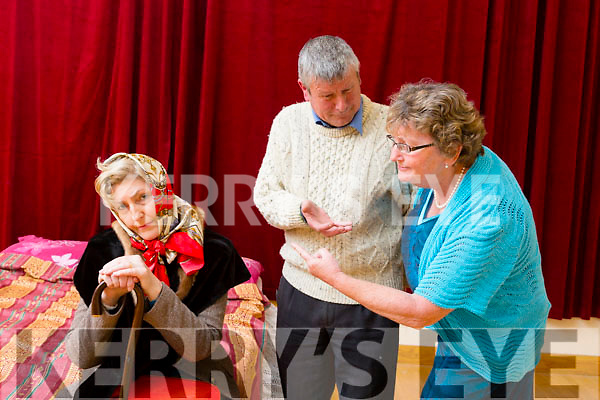 "Majella Barrett as Mrs Hartnett,Ned Hayes as Walter Mansfield and Rose Dowling as Mrs Mansfield  in the  Abbeydorney drama group production of ""Second Honeymoon""at the Abbeydorney community centre on 1st,3rd,6th and 8th of May at 8pm sharp."