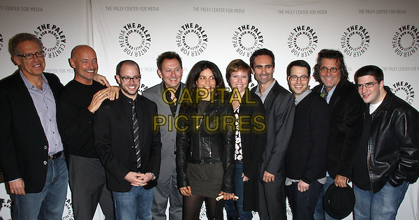 """LOST"" CAST & CREW - CARLTON CUSE, TERRY O'QUINN. DAMON LINDELOF, MICHAEL EMERSON, ZULEIHKA ROBINSON, ELIZABETH SARNOFF, NESTER CARBONELL, GUEST, JACK BENDER & GUEST.27th Annual PaleyFest Presents the television show 'Lost' held At The Saban Theatre, Beverly Hills, California, USA, 27th February 2010..arrivals half length group shot black grey gray .CAP/ADM/KB.©Kevan Brooks/Admedia/Capital Pictures"