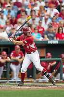 Arkansas Razorbacks outfielder Tyler Spoon (8) at bat against the Virginia Cavaliers in Game 1 of the NCAA College World Series on June 13, 2015 at TD Ameritrade Park in Omaha, Nebraska. Virginia defeated Arkansas 5-3. (Andrew Woolley/Four Seam Images)