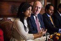 (L-R) Pallavi Sharda (OzFest ambassador) speaks as Dr. Lachlan Strahan (Australian Deputy High Commissioner to India), and Maharaj Narendra Singh (Maharaj of Jaipur) listen during a press conference on Oz Fest in Raj Mahal Palace hotel, Jaipur, India on 10th January 2013. Photo by Suzanne Lee/DFAT