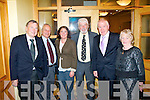 ATTENDING: Ted Fitzgerald, Brian Daly, Grace O'Donnell, Johnny Wall, Minister for Arts,Ghaeltach and Culture Jimmy Deenihan TD and Dawn Uí Chonchubhair at the Roger Casement gathering in the Mount Brandon hotel, Tralee last Saturday afternoon.