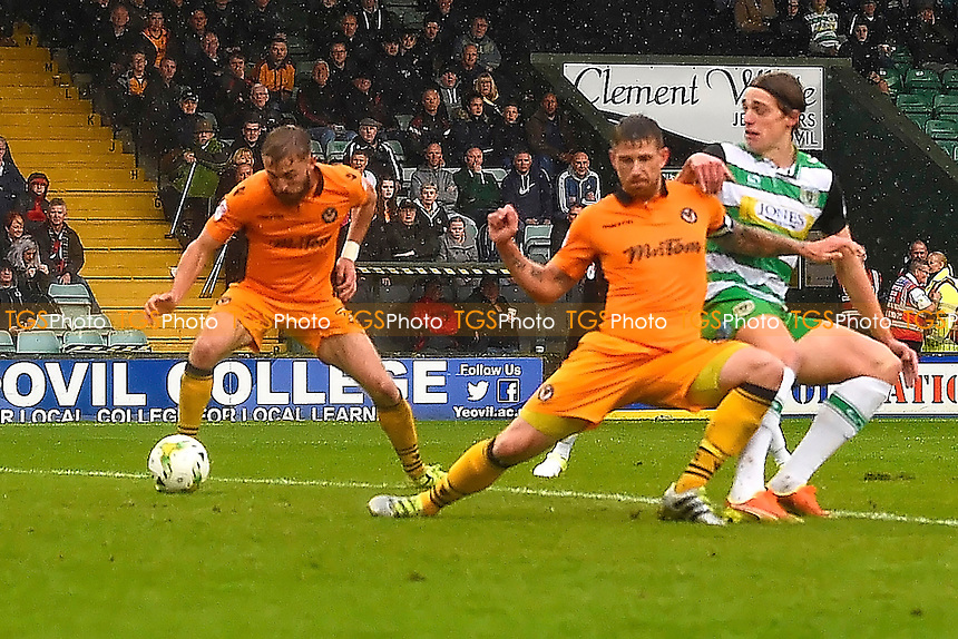 Tom Eaves of Yeovil Town right scores the only goal of the gameTom Eaves of Yeovil Town right shoots and scores the first goal during Yeovil Town vs Newport County, Sky Bet EFL League 2 Football at Huish Park on 15th October 2016