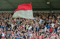Lincoln City fans celebrate their teams second goal<br /> <br /> Photographer Chris Vaughan/CameraSport<br /> <br /> The EFL Sky Bet League Two - Lincoln City v Swindon Town - Saturday 11th August 2018 - Sincil Bank - Lincoln<br /> <br /> World Copyright &copy; 2018 CameraSport. All rights reserved. 43 Linden Ave. Countesthorpe. Leicester. England. LE8 5PG - Tel: +44 (0) 116 277 4147 - admin@camerasport.com - www.camerasport.com