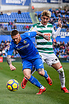 Ivan Alejo of SD Eibar (R) fights for the ball with Vitorino Antunes of Getafe CF (L) during the La Liga 2017-18 match between Getafe CF and SD Eibar at Coliseum Alfonso Perez Stadium on 09 December 2017 in Getafe, Spain. Photo by Diego Souto / Power Sport Images