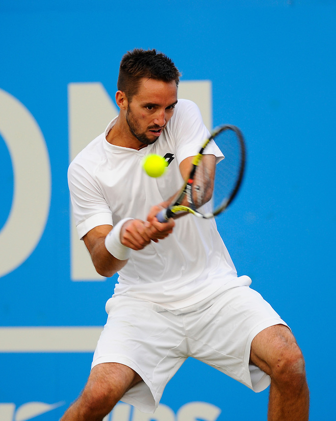 Viktor Troicki (SRB) in action today during his victory over Marin Cilic (CRO) in their Men&rsquo;s Singles Second Round match - Viktor Troicki (SRB) def Marin Cilic (CRO) 6-7, 6-2, 6-3<br /> <br /> <br /> <br /> Photographer Ashley Western/CameraSport<br /> <br /> Tennis - ATP 500 World Tour - AEGON Championships- Day 4 - Thursday 18th June 2015 - Queen's Club - London <br /> <br /> &copy; CameraSport - 43 Linden Ave. Countesthorpe. Leicester. England. LE8 5PG - Tel: +44 (0) 116 277 4147 - admin@camerasport.com - www.camerasport.com
