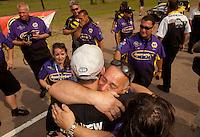 May 1, 2011; Baytown, TX, USA: NHRA pro stock driver Vincent Nobile celebrates with dad John Nobile after winning the Spring Nationals at Royal Purple Raceway. Mandatory Credit: Mark J. Rebilas-