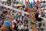31.05.2015, Moskau, Vodny Stadion<br /> Moskau Grand Slam, Main Draw / Finale<br /> <br /> Angriff Marleen van Iersel (#1 NED) - Block Talita Antunes (#2 BRA)<br /> <br />   Foto &copy; nordphoto / Kurth