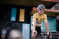 yellow jersey / GC leader Geraint Thomas (GBR/SKY) at sign-on<br /> <br /> Stage 6: Frontenex &gt; La Rosi&egrave;re Espace San Bernardo (110km)<br /> 70th Crit&eacute;rium du Dauphin&eacute; 2018 (2.UWT)