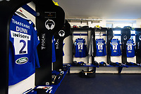 A general view in the Bath Rugby changing rooms. Gallagher Premiership match, between Bath Rugby and Gloucester Rugby on September 8, 2018 at the Recreation Ground in Bath, England. Photo by: Patrick Khachfe / Onside Images