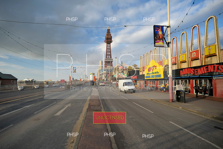 28/02/2011 Central Promenade Blackpool Lancashire UK. closed to traffic as work continues on the redevelopment .....© Phill Heywood.