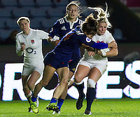 Rachael Burford tackled, England Women v France Women in an Old Mutual Wealth Series, Autumn International match at Twickenham Stoop, Twickenham, England, on 9th November 2016. Full Time score 10-5