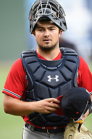Catcher Shea Langeliers (4), right, the Atlanta Braves' top pick in the 2019 MLB Draft, now with the Rome Braves, walks in from the bullpen on Thursday, June 27, 2019, at Fluor Field at the West End in Greenville, South Carolina. Rome won, 4-3. (Tom Priddy/Four Seam Images)