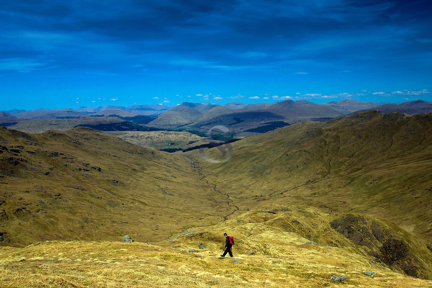 Descending from Beinn a' Chroin above Crianlarich, Loch Lomond and the Trossachs National Park, Stirlingshire