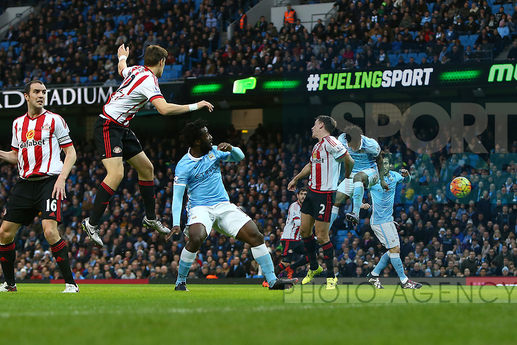 Raheem Sterling of Manchester City scores the opening goal - Manchester City vs Sunderland - Barclays Premier League - Etihad Stadium - Manchester - 26/12/2015 Pic Philip Oldham/SportImage