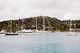 JAMAICA, Port Antonio. Sailboats along the harbour.