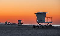 Huntington Beach Lifeguard Towers on the Beach