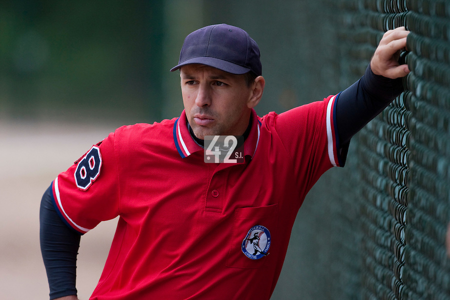 03 october 2009: First base umpire Franck Benasseur is seen during game 1 of the 2009 French Elite Finals won 6-5 by Rouen over Savigny in the 11th inning, at Stade Pierre Rolland stadium in Rouen, France.