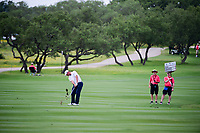 Shawn Stefani (USA) hits his approach shot on 18 during round 1 of the Valero Texas Open, AT&amp;T Oaks Course, TPC San Antonio, San Antonio, Texas, USA. 4/20/2017.<br /> Picture: Golffile | Ken Murray<br /> <br /> <br /> All photo usage must carry mandatory copyright credit (&copy; Golffile | Ken Murray)