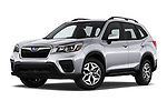 Stock pictures of low aggressive front three quarter view of a 2020 Subaru Forester Premium 5 Door Wagon
