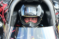 Apr. 27, 2012; Baytown, TX, USA: NHRA top fuel dragster driver Troy Buff during qualifying for the Spring Nationals at Royal Purple Raceway. Mandatory Credit: Mark J. Rebilas-