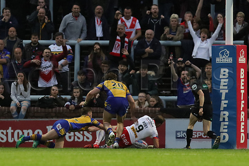 June 29th 2017, Headingley Carnegie, Leeds, England; Betfred Super League; Leeds Rhinos versus St Helens; James Roby of St Helens scores a try