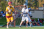 Rancho Santa Margarita, CA 04/30/10 - Lucas Gradinger (Torrey Pines #6) and Garrett Parsons (Santa Margarita #16) in action during the Rancho Santa Margarita CHS-Torrey Pines boys varsity lacrosse game.