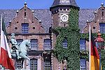 Europe, DEU, Germany, Northrhine Westphalia, Rhineland, Lower Rhine, Dusseldorf, Old town, City hall, Jan-Wellem Monument, Flags....[ For each utilisation of my images my General Terms and Conditions are mandatory. Usage only against use message and proof. Download of my General Terms and Conditions under http://www.image-box.com or ask for sending. A clearance before usage is necessary...Material is subject to royalties. Each utilisation of my images is subject to a fee in accordance to the present valid MFM-List...Contact | archive@image-box.com | www.image-box.com ]