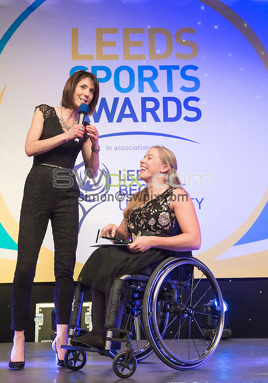 Picture by Allan McKenzie/SWpix.com - 03/03/16 - Commercial - Leeds Sports Awards 2016 - New Dock Hall, Leeds, England - Tanya Arnold interviews Hannah Cockroft MBE.