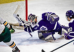 2 February 2020: Holy Cross Crusader Goaltender Jada Brenon, a Sophomore from Pendleton, NY, gives up a third period goal to the University of Vermont Catamounts at Gutterson Fieldhouse in Burlington, Vermont. Brenon made 51 saves in the game, keeping the Crusaders in the lead for almost the entire game. However, the Lady Cats rallied in the 3rd period to tie the Crusaders 2-2 in NCAA Women's Hockey East play. Mandatory Credit: Ed Wolfstein Photo *** RAW (NEF) Image File Available ***