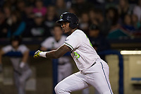 Hillsboro Hops first baseman Francis Martinez (23) starts down the first base line during a Northwest League game against the Salem-Keizer Volcanoes at Ron Tonkin Field on September 1, 2018 in Hillsboro, Oregon. The Salem-Keizer Volcanoes defeated the Hillsboro Hops by a score of 3-1. (Zachary Lucy/Four Seam Images)