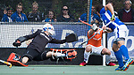 UTRECHT - Martijn Havenga (Kampong) scoort 2-2  tijdens de hockey hoofdklasse competitiewedstrijd heren:  Kampong-Bloemendaal (3-3).   COPYRIGHT KOEN SUYK