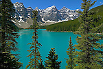 Canadien rocky mountain peaks of Banff National Park viewd from Lake Moraine, Banff National Park, Alberta, Canada