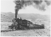 #361 pulling gondolas and caboose west of Cimmaron.<br /> D&amp;RGW  Cerro Summit, CO
