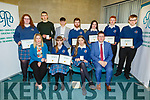 Causeway Comprehensive at the ETB Awards evening in the I T Tralee on Friday night.<br /> Seated l to r: Jennifer Barry, Isabelle Shaw, Amy O'Sullivan and Cathal Fitzgerald (Principal).<br /> Back l to r: Mary Mahoney, Jack O'Sullivan, Damien Costello, Cian Doherty, Caitlin Stirch, Daniel Burke and Etan Freemantle.