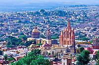 Cityscape of the center of San Miguel de Allende (Los Monjas Church on left and Church of St. Michael the Archangel on right), Mexico