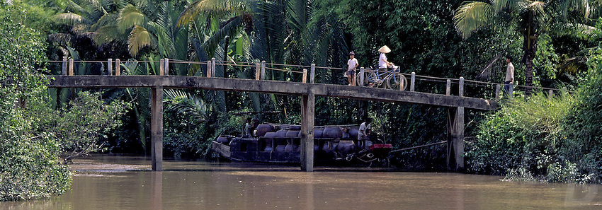 """Near Can Tho, the hub of the Mekong Delta (Vietnamese: Đồng bằng Sông Cửu Long """"Nine Dragon river delta""""), also known as the Western Region (Vietnamese: Miền Tây or the South-western region (Vietnamese: Tây Nam Bộ) is the region in southwestern Vietnam where the Mekong River approaches and empties into the sea through a network of distributaries. The Mekong delta region encompasses a large portion of southwestern Vietnam of 39,000 square kilometres (15,000sqmi). The size of the area covered by water depends on the season.<br /> The Mekong Delta has been dubbed as a """"biological treasure trove"""". Over 1,000 animal species were recorded between 1997 and 2007 and new species of plants, fish, lizards, and mammals has been discovered in previously unexplored areas, including the Laotian rock rat, thought to be extinct."""