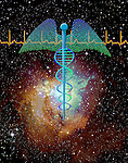 photo illustration integrating symbol of caduceus