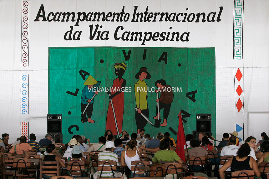 People attends a session at International Via Campesina during the 9th World Social Forum (WSF), in Belem, in the Brazilian northern state of Para, on January 30, 2009