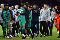 Tottenham Hotspur manager:Mauricio Pochettino celebrates the victory with hat trick hero Lucas of Tottenham Hotspur after AFC Ajax vs Tottenham Hotspur, UEFA Champions League Football at the Johan Cruyff Arena on 8th May 2019