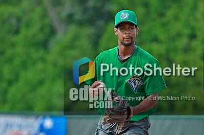 18 July 2013: Vermont Lake Monsters infielder Chris Wolfe warms up prior to a game against the Aberdeen Ironbirds at Centennial Field in Burlington, Vermont. The Lake Monsters fell to the Ironbirds 5-1 in NY Penn League action. Mandatory Credit: Ed Wolfstein Photo
