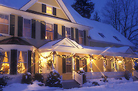 AJ5805, Inn, Hotel, country inn, B&B, resort, decorations, holiday, Christmas, snow, winter, The Jackson House Inn (a Country Inn) is decorated with white lights for the Christmas holiday season at night in West Woodstock in Windsor County in the state of Vermont.